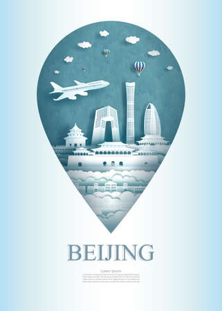 Travel China Beijing architecture monument pin in Asia with ancient and city modern building. Travel poster and postcard for business. Tour landmarks of asia. Vector illustration pin point symbol.