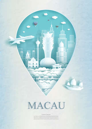Travel Macau architecture monument pin in Asia with ancient and city modern building business travel poster and postcard. Tour landmarks of asia architecture. Vector illustration pin point symbol.