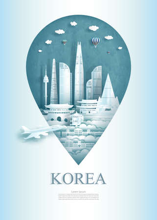 Travel south korea architecture monument pin in Asia with ancient and city modern building. Travel poster and postcard for business. Tour landmarks of asia. Vector illustration pin point symbol. Иллюстрация