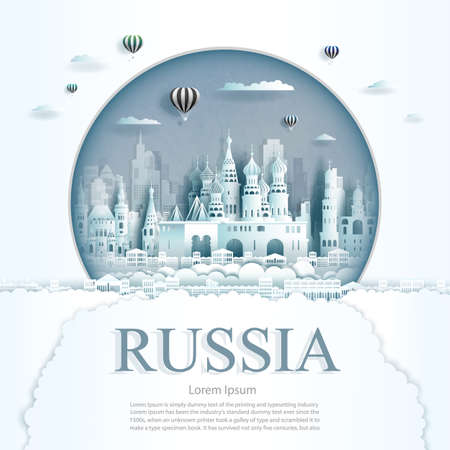 Travel Russia monument with ancient and city modern building in circle background. Business travel poster and postcard.Travel landmarks of europe ancient architecture cityscape. Vector illustration