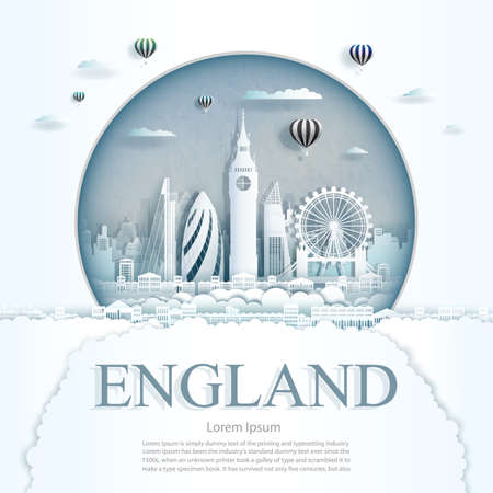 Travel England monument with ancient and city modern building in circle background. Business tour for poster and postcard.Travel landmarks of europe ancient architecture cityscape. Vector illustration