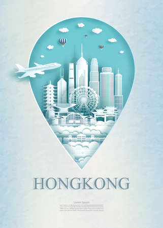Travel Hong Kong architecture monument pin in Asia with ancient and city modern building business travel poster and postcard. Tour landmarks of asia architecture. Vector illustration pin point symbol.