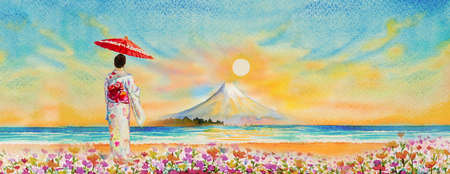 Travel Mount Fuji of Japan - Famous landmarks of the Asian. Woman wearing japanese traditional kimono with umbrella. Watercolor painting illustration in sun sky background, popular tour attraction.