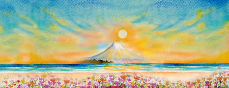 Travel Mount Fuji of Japan - Famous landmarks of the Asian. Watercolor painting illustration colorful of flowers beautiful spring seasonal sun sky background. Business city popular tourist attraction.