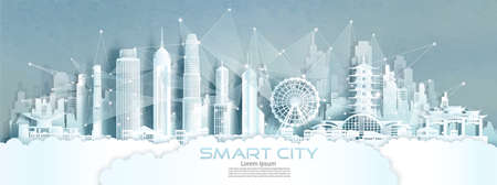 Technology wireless network communication smart city with architecture in Hong Kong of Asia downtown skyscraper on blue texture background, Vector illustration futuristic Eco city in panorama view.