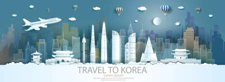 Travel landmarks south korea city with flight and balloon, Tour landmark the world to history with panorama view cityscape popular capital, Origami paper cut style for advertising,Vector illustration.
