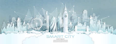 Technology wireless network communication smart city with architecture in England of Europe downtown skyscraper on blue texture background, Vector illustration futuristic green city and panorama view.