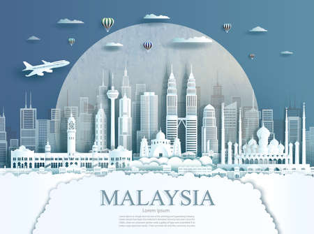 Travel Malaysia monument in Kuala Lumpur city modern building in circle texture background. Business travel poster and postcard.Travel landmarks asia modern architecture cityscape. Vector illustration Reklamní fotografie