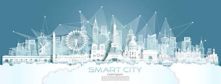 Technology wireless network communication smart city with architecture in paris France at europe downtown skyscraper on blue background, Vector illustration futuristic green city and panorama view.
