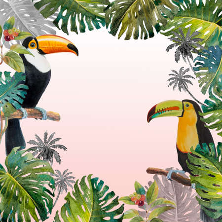 Tropical summer foliage with Toucan bird. Watercolor hand drawn, bird and monstera greenery palm tree, tropic green texture, painting illustration on pink white background.