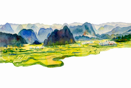 Paintings watercolor landscape original of village mountain hill, cornfield and meadow countryside. Hand painted illustration isolated on white ackground, beauty nature spring season.