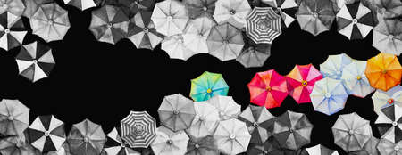Multi colored umbrella Watercolor painting top view colorful of summer holiday and tourism business sea, beach resort, market, texture, black background. Hand painted abstract illustration, copy space Reklamní fotografie