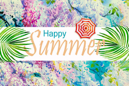 Tropical summer text. Watercolor paintings hand drawn colorful of umbrella, palm leaf, pink purple flowers with concept, postcard, banners, advertising painting illustration on flower background. Reklamní fotografie