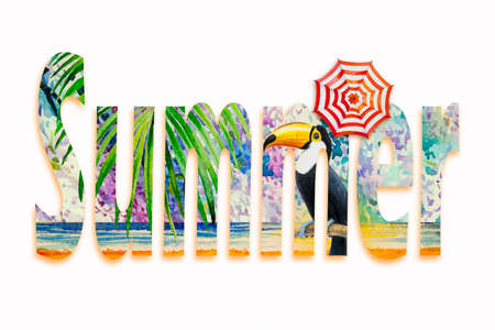 Tropical summer text with Toucan bird. Watercolor hand drawn, bird and umbrella, palm leaf, flower texture with seascape wave beach and blue, yellow color painting illustration on white background. Reklamní fotografie