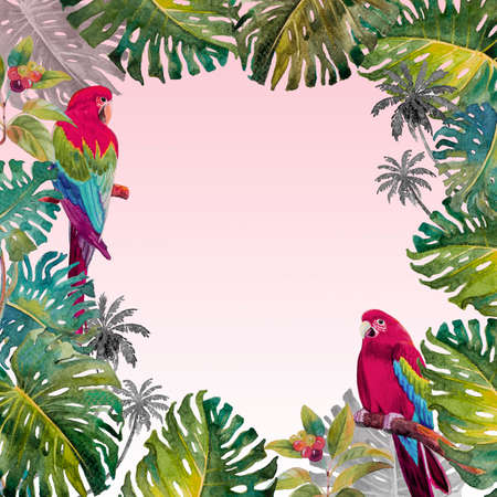 Tropical summer foliage with Macaw bird. Watercolor hand drawn, bird and monstera greenery palm tree, tropic green texture, painting illustration on pink white background. Reklamní fotografie
