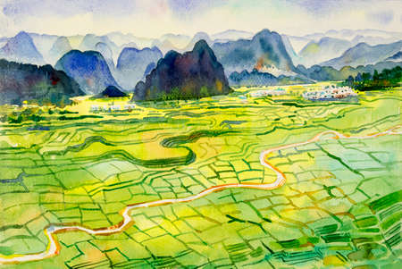 Asia view - Paintings watercolor landscape original of village mountain hill, cornfield and meadow countryside. Hand painted illustration on paper, sky cloud background, beauty nature spring seasonal.