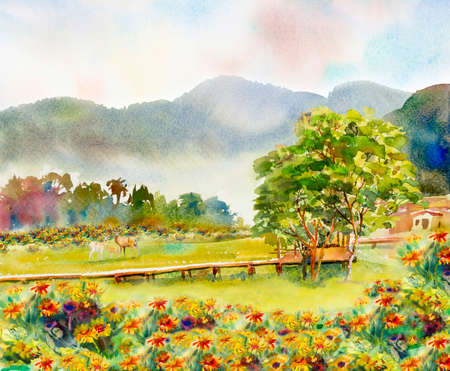Paintings forest watercolor landscape original of animal, deer family concept and eco meadow flower countryside. Hand painted illustration on paper green tree background, beauty nature spring season.