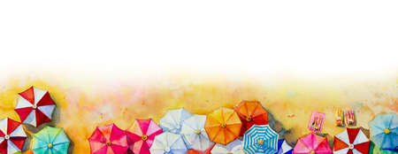 Painting watercolor seascape Top view colorful of lovers, family vacation and tourism in summery, multi colored umbrella in white background. Hand painted with advertising poster illustration. Reklamní fotografie
