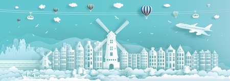 Travel architecture Netherlands landmarks in amsterdam famous city of europe with turquoise background, Travelling Netherlands with panoramic popular history capital by paper cut, Vector illustration.
