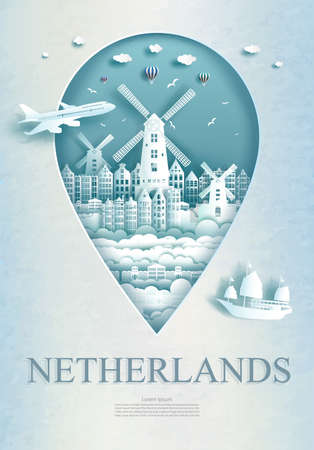 Travel Netherlands architecture monument pin in Europe with ancient city and building, Business travel poster and postcard. Tour landmarks of europe architecture. Vector illustration pin point symbol. Ilustrace