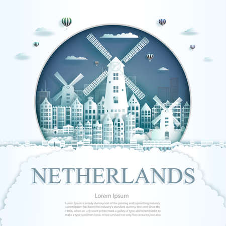 Travel Netherlands monument in amsterdam city modern building in circle blue background. Business travel poster and postcard. Ilustrace