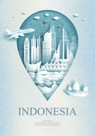 Travel Indonesia architecture monument pin in Asia with ancient and city modern building business travel poster and postcard. Tour landmarks of asia architecture. Vector illustration pin point symbol.