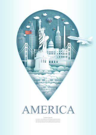 Travel landmark United of america monument architecture modern of New york in pin marker background. Travel poster and postcard modern architecture of USA. Vector illustration pin point symbol.
