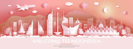 Travel architecture Indonesia landmarks in jakarta famous city of Asia on pink background with balloons hot air. Tour Malaysia with panoramic popular capital by paper origami, Vector illustration.