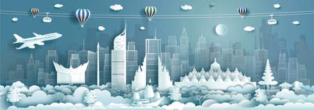 Travel architecture Indonesia landmarks in jakarta famous city of Asia on blue background with balloons hot air. Tour Malaysia with panoramic popular capital by paper origami, Vector illustration. Reklamní fotografie