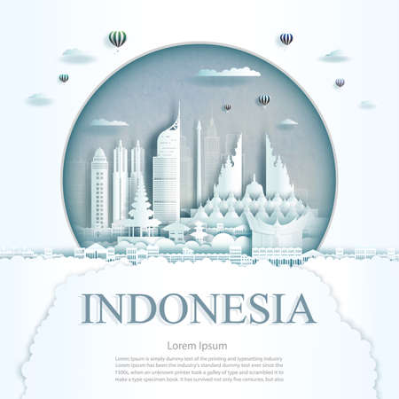 Travel Indonesia monument in Jakarta city modern building in circle texture background. Business travel poster and postcard.Travel landmarks asia modern architecture cityscape. Vector illustration Ilustrace