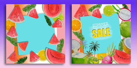 Summer sale background layout for banners, Paintings bright fruit of melon coconut dragon fruit watercolor painting colorful illustration of poster wallpaper, products, print in trend color background Reklamní fotografie
