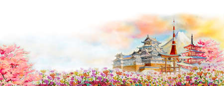 Travel landmarks famous of Japan in the Asian.  Watercolor painting illustration Mount Fuji, beautiful architecture with flowers of spring in white background, popular tour attraction business city. Reklamní fotografie