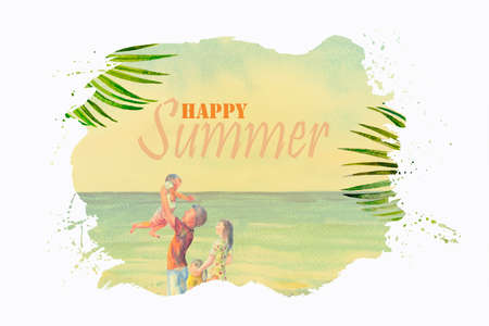 Happy summer text with family traveling. Watercolor paintings seascape and people concept vintage style on white background. Painting illustration of business, poster, travel, advertising summary.