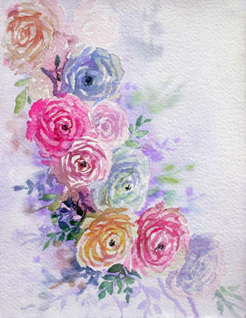 Greeting card with pink,purple rose flowers. Pastel colors vintage, bouquet beauty, spring nature,on soft color background. Handmade watercolor painting illustration.