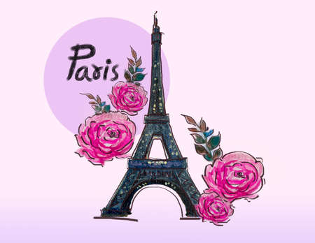 Eiffel Tower on the pink purple background with rose flowers. Watercolor painting hand drawn illustration France, Paris romantic art design. Fashion print, greeting cards, postcard or contemporary.