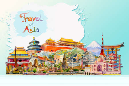 Travel around the world and sights. Famous landmarks of the world grouped together. Watercolor hand drawn painting illustration, landmark of Asia on white, blue background, popular tourist attraction. Reklamní fotografie