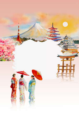 Travel landmarks famous of Japan in the Asian. Watercolor painting illustration Mount Fuji, beautiful architecture, Japanese girl in kimono of spring background with poster advertising text copy space