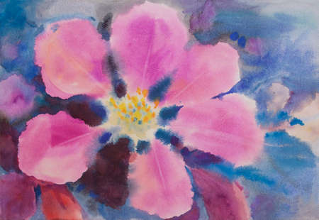 Abstract watercolor original painting of Valentine day, New year's card, wallpaper with bright pink purple rose flowers in blue background. Watercolor paintings illustration, Impressionist style.