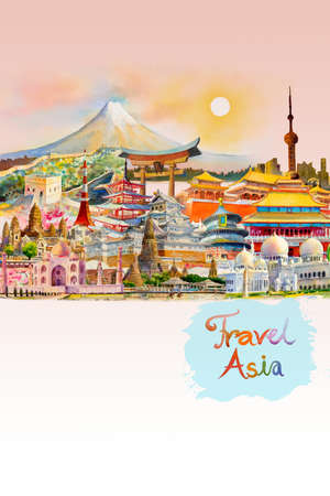 Travel around the world and sights. Famous landmarks of the world grouped together. Watercolor hand drawn painting illustration, landmark of Asia on pink, white background, popular tourist attraction.