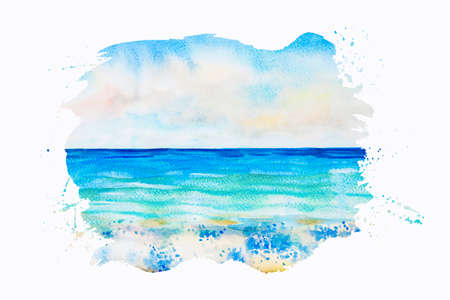 Watercolor seascape original painting colorful of sea view, wave and sky,cloud background in the morning bright, nature beauty season. Painted impressionist abstract images with space text, postcard.