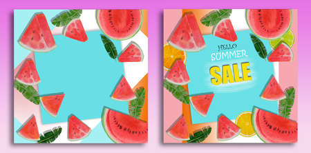 Summer sale background layout for banners, Paintings bright fruit of watermelon, lemon, leaf, watercolor painting colorful illustration of poster wallpaper, products, print in trend color background.