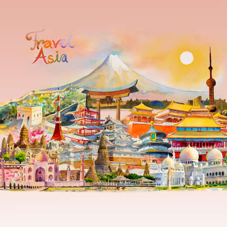 Travel around the world and sights. Famous landmarks of the world grouped together. Watercolor hand drawn painting illustration, landmark of Asia on pink background, popular tourist attraction. Reklamní fotografie