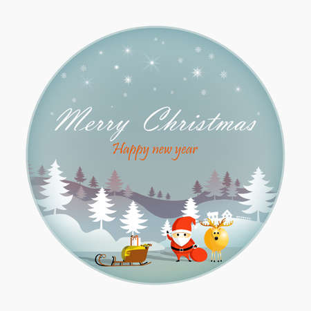 Merry Christmas and Happy New Year, Paper art snowflake and santa with rein deer, Mountain and cloud beauty used for printing on book cover, banner, magazine, greeting card, vector illustration.