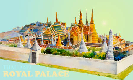 Travel landmark popular royal grand palace bangkok Thailand. Watercolor painting landscape colorful of architecture and river view. Hand drawn illustration great the best known of Thailand landmarks.