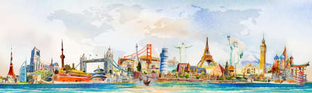 Travel famous landmarks world, Europe, Asia and America. Watercolor landscape painting illustration with world map background. Popular landmark with advertising, poster, postcard. Vector illustration. Ilustrace