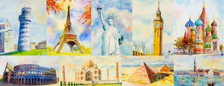 Travel around the world and sights. Famous landmarks of the world grouped together. Watercolor hand drawn painting illustration on paper with tourism, Use for advertising travel poster and postcard. Reklamní fotografie