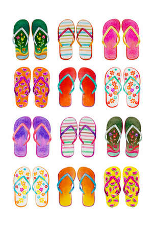 Summer flip flops set of colorful isolated on white background. Watercolor painting illustration, collection of design elements