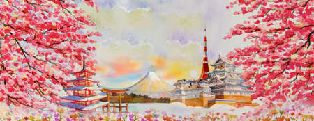 Vector illustration paintings watercolor travel landmarks famous of Japan in Asia. mountain, beautiful architecture with spring season background, popular tour attraction business city.