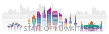 Modern architecture skyscraper in Kuwait with halftone colorful in asia. Travel Kuwait city architecture landmarks in famous capital city of Asia on white background. Travel panorama popular capital.