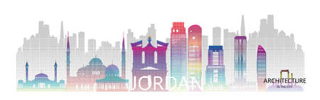 Modern architecture skyscrapers in Jordan with halftone colorful of Asia. Tour Amman architectural landmarks famous city of petra in Asia on a white background. Tour Jordan with panoramic popular city